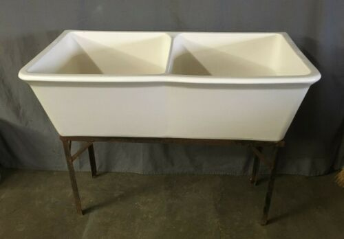 Vtg Mid Century Ceramic White Double Deep Basin Utility Slop SInk Fords 11-20E