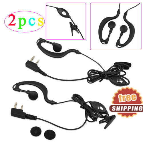 2X Walkie Talkie Headset Earpiece Ear Clip 2 Pin For BF 888s UV5R Two Way Radio