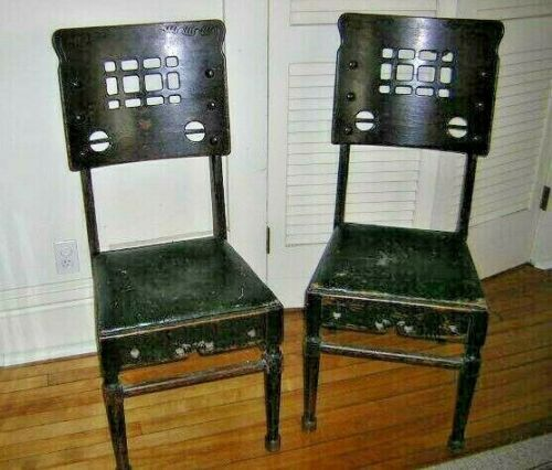 ANTIQUE FURNITURE Pair of WOOD CHAIRS Arts & Crafts