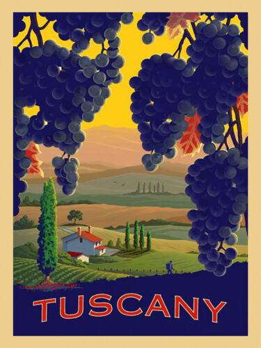 Tuscany Grapes Chianti Fine Red Wine Italy Italian Vintage Poster Repro FREE S/H
