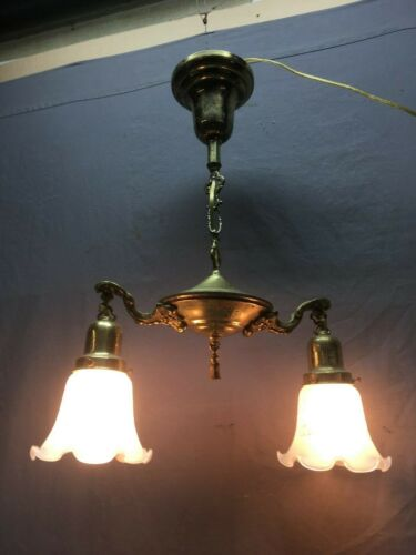 Vtg Retro Brass Pan Chandalier Light Fixture Frosted Glass Shades Old 26-20E