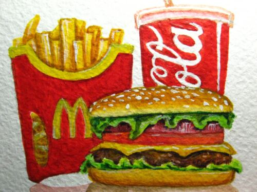Painting Mc Donald's Meal Big Mac French Fry's Coca Cola Fast Food ACEO Art .