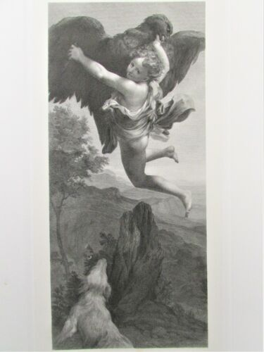 Rare Antique Engraving Ganymede by A.Wagenmann after Correggio