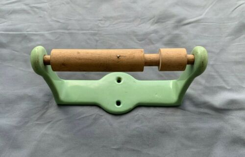 Antique Cast Iron Jadeite Green Porcelain Toilet Paper Tissue  Holder Vtg 54-20J