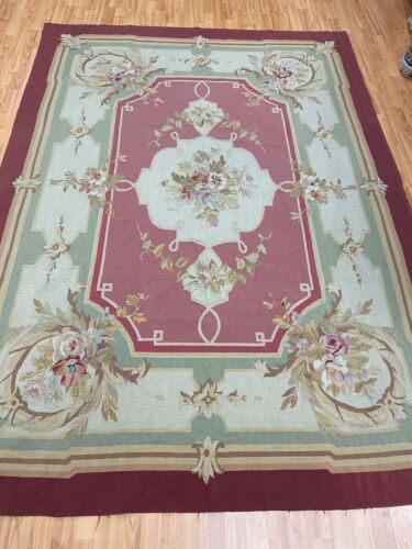 """6'8"""" x 8'8"""" Antique Chinese Aubusson Oriental Rug - 1930s - Hand Made 100% Wool"""