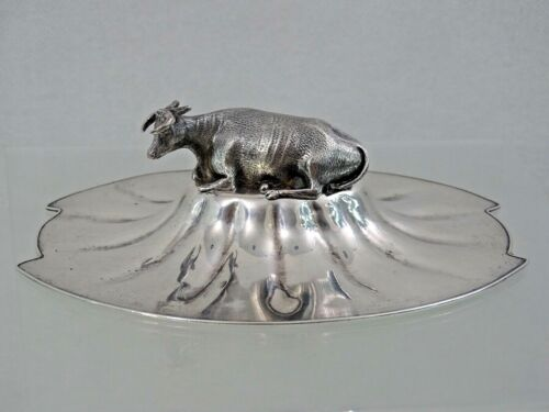 ENGLISH GEORGIAN TOP for BUTTER DISH SILVER PLATED LID / STERLING COW FINIAL