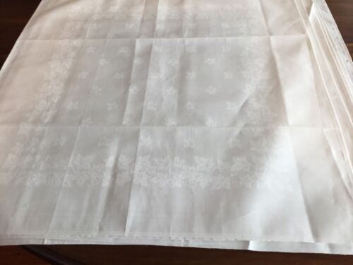 Unused antique linen damask serviettes 6 White