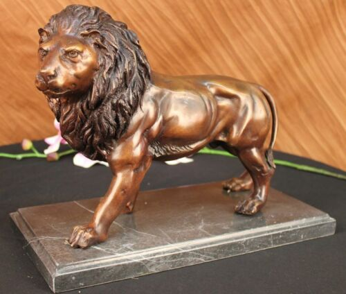 VINTAGE MOIGNIEZ BRONZE LION WALKING SIGNED HOT CAST SCULPTURE ART DEAL