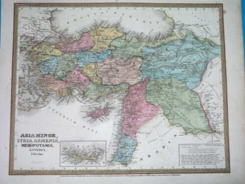 1840 ANTIQUE MAP MIDDLE EAST GREAT ARMENIA SYRIA PALESTINE TURKEY CYPRUS IRAQ