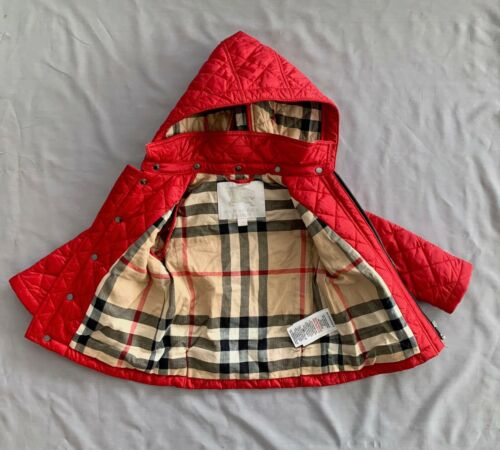 BURBERRY Children /Kids RED DIAMOND QUILTED HOODED JACKET 18 MONTHS CHECK LINING