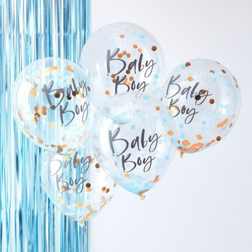 Rose Gold  & Blue Baby Boy Confetti Balloons    Baby Shower Decorations x5