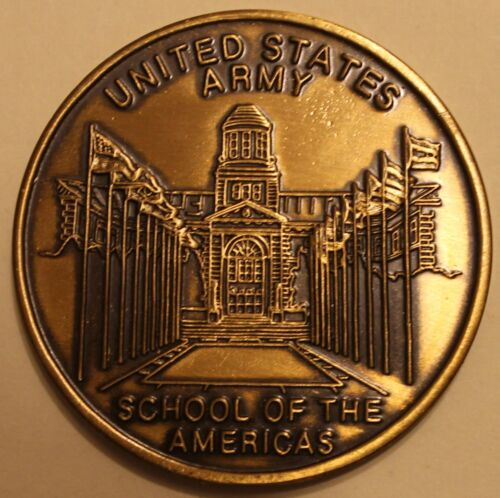 United States Army School of the Americas Bronze Army Challenge CoinOriginal Period Items - 13983