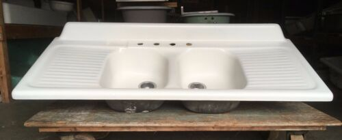 Vtg Mid Century Cast Iron White Porcelain Double Basin Drainboard Sink 180-20E