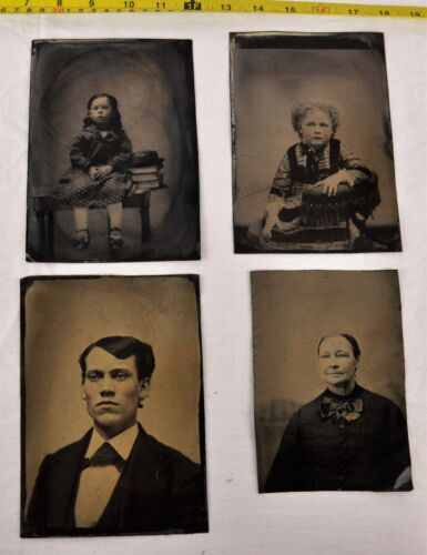Lot of 4 large size Victorian era colored tintypes (BI#BX73)