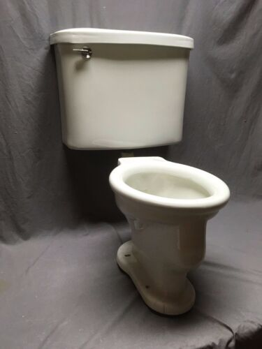 Antique Ceramic White Porcelain Complete Toilet Bowl Tank Lid Old Vtg 214-20E