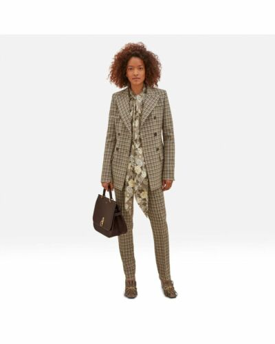 Mulberry Wool Check Cigarette Trousers
