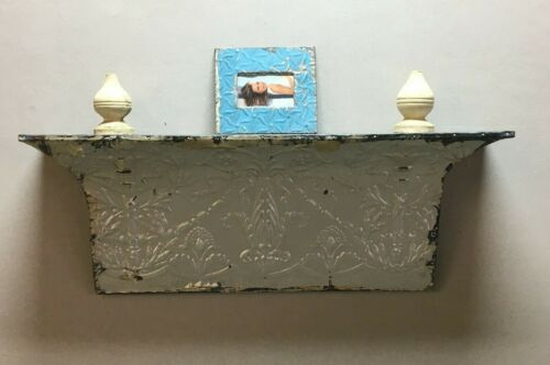 Large Architectural Destressed Reclaimed Tin Mantle Shelf Home Decor 307-BE