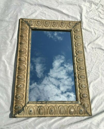"""Decorative  Salvaged Tin Ceiling Shabby 19"""" x 28"""" Metal Mirror 321-20BE"""