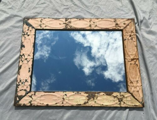 """Decorative  Salvaged Tin Ceiling Shabby 21"""" x 27"""" Pink Metal Mirror 322-20BE"""