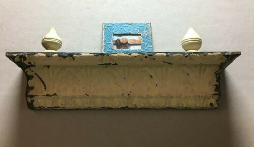 Architectural Destressed Embossed Reclaimed Tin Mantle Shelf Home Decor 328-BE