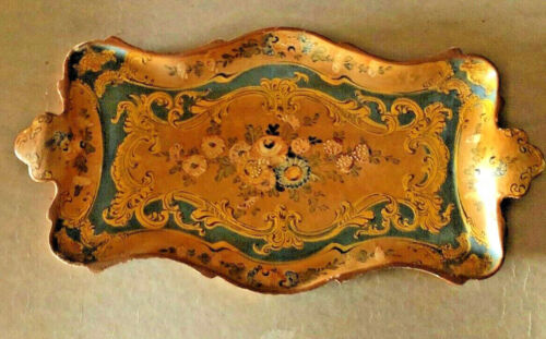 Vintage Paper Mache Boudoir Vanity Japan Tray Cocktail French Country Style Art