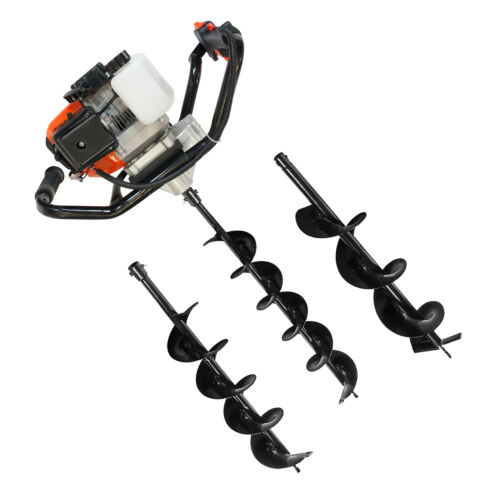 3HP 2-Stroke Petrol Post Hole Auger 52cc Earth Ground Drill +Set of 3 Drill Bits