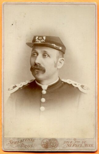 St. Paul, MN, Portrait of a  Man in Uniform, ID'd, by Schlattman Bros., ca 1890