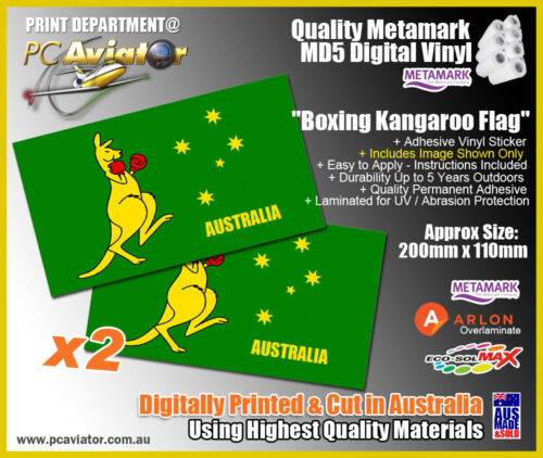 BOXING KANGAROO VINYL DECAL230mm BY 230mm GLOSS LAMINATED left and right facing