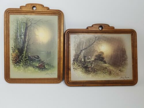 Vintage set of Prints on Wood by Andres Orpinas Cottage Boat Woods 7.5 x 9.5