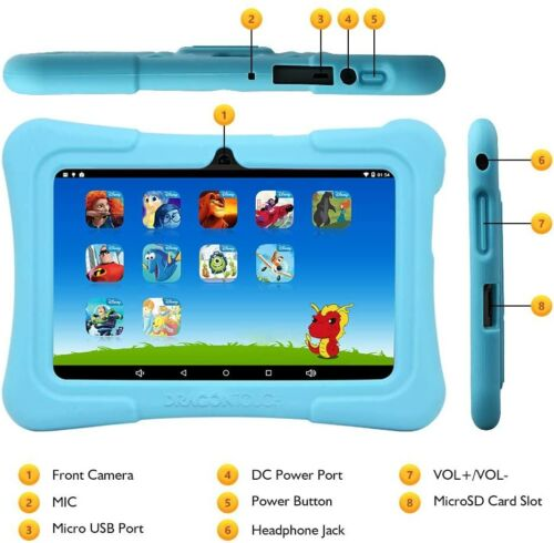 Kids Tablet Android 8.1 OS 7 IPS Display 16GB ROM Kidoz Google Play Pre-Installe