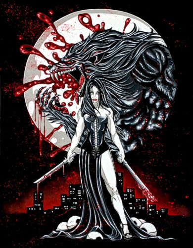 Gothic female vampire with swords and werewolf and  comic FANTASY ART 11 x 14