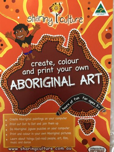 ABORIGINAL ART ACTIVITIES CD-Rom Software AS NEW! Create And Paint Your Own