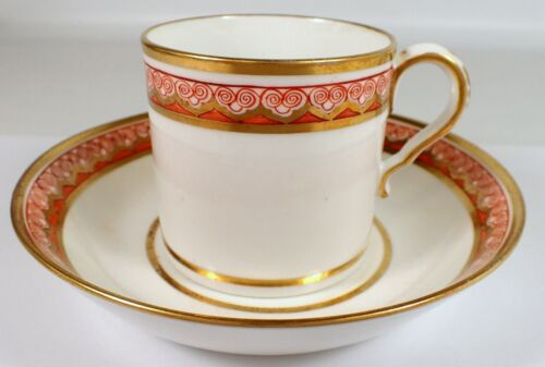 EARLY c1805 Antique SPODE Signed 714 Hand Painted Gold & Orange Tea Cup & Saucer