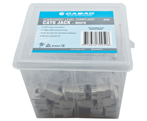 NEW CABAC Cat 6 JACK RJ45 50PACK CAT6 Clipsal-Compatible K/110 8P8C 568A 568B