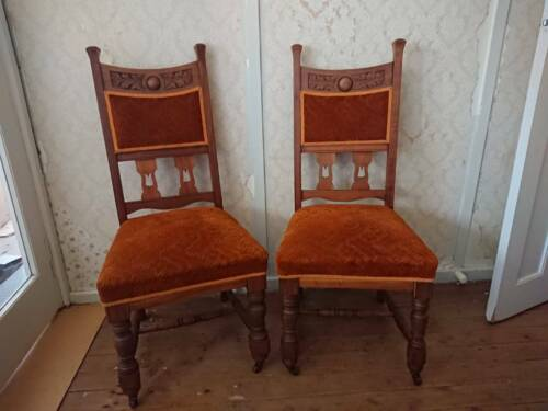 2 x restored Edwardian dining chairs