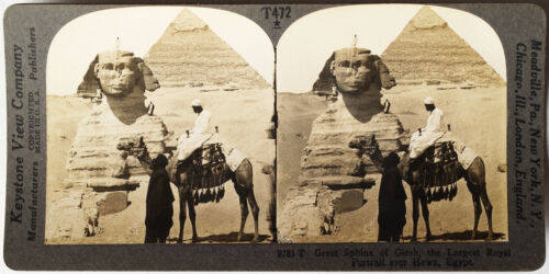 Keystone Stereoview Sphinx and Great Pyramid, Giza, Egypt from T600 Set #T472 A