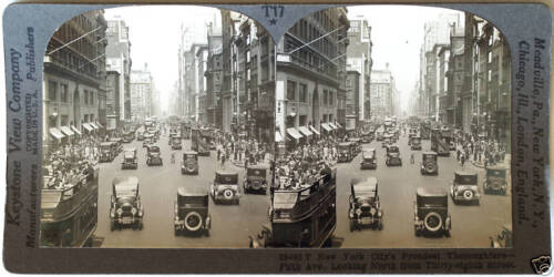 Keystone Stereoview of 5th Ave. New York, NY w/Cars & Buses from 1930's T400 Set