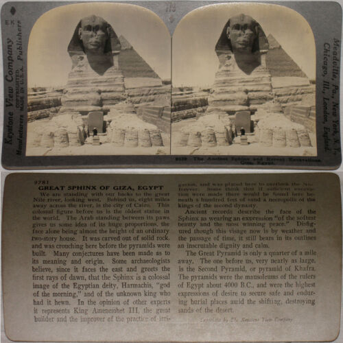 Keystone Stereoview Excavations at The Sphinx, Giza, Egypt 600/1200 Set #779 T1