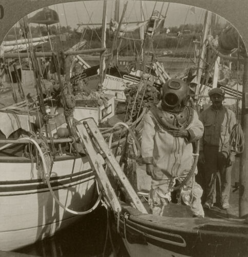 Keystone Stereoview Sponge Diver in Diving Suit From Rare Florida Set 1920's #40
