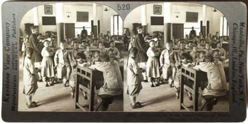 Keystone Stereoview Students in Jesuit Orphanage, China 10s Education Set #520 B