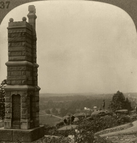 Keystone Stereoview Little Round Top, Gettysburg, PA Rare 1930s History Set H137