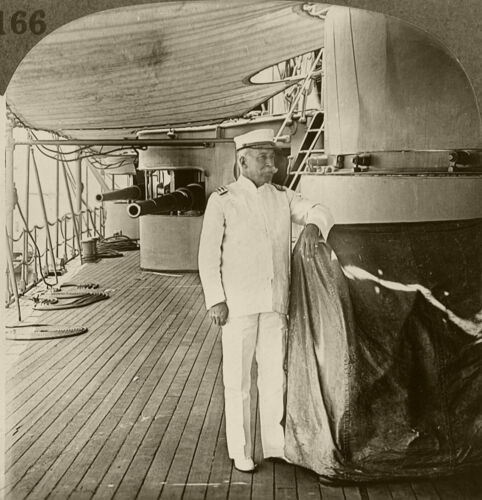 Keystone Stereoview Admiral Dewey on Olympia From Rare 1930's History Set # H166