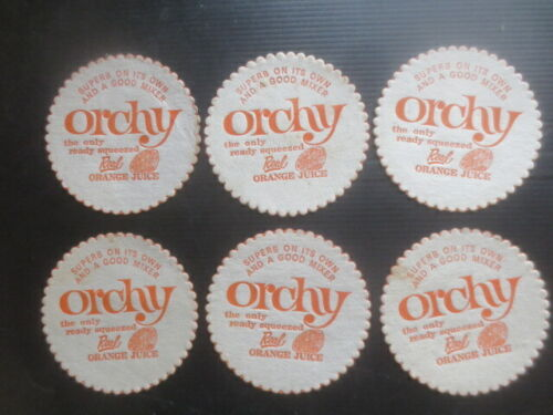 """6 the same ORCHY SOFT DRINKS 1970,s Issued Coasters """" NO MORE ,GONE """""""