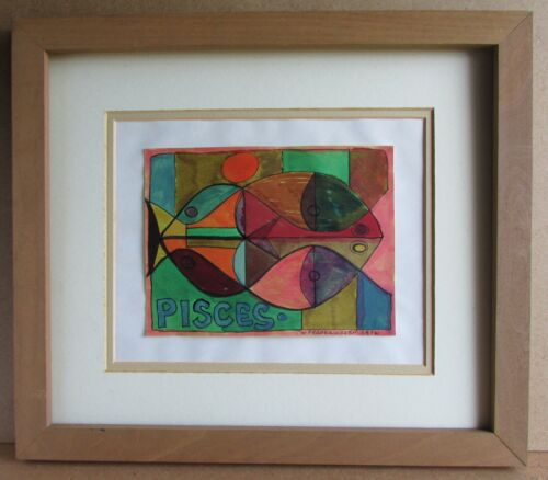 William FREDERICKSEN (American, 1914-2010) Abstract Mixed Media Painting Pisces