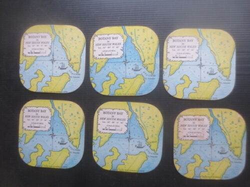 """6 x '"""" BOTANY BAY MAP """" 1980,s  issued souvenir COASTERS"""