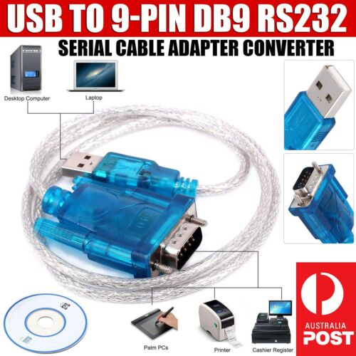 USB to RS232 DB9 Male Adapter 9-pin Serial Cable & Driver CD Support Windows 10