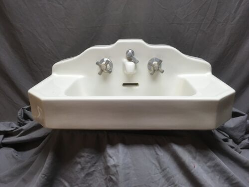 Antique Ceramic White Porcelain Stepped Pyramid Deco Bath Wall Sink Vtg 367-20E