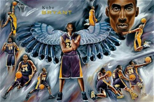 """Quality Kobe Bryant Angel With Wings Poster 36"""" x 24""""  #50806"""