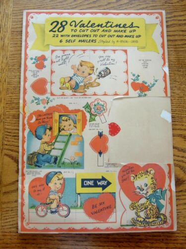 Vintage Book 28 Valentines Envelopes w/Inserts to Cut Out by Americard
