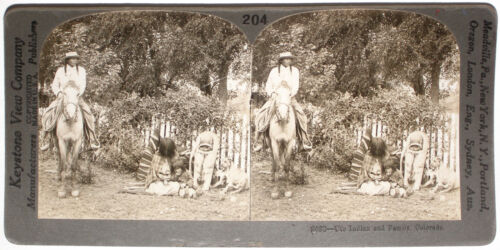 Keystone Stereoview Ute Indian Family, COLORADO from 1910s Education Set #204 BB